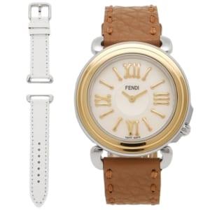 FENDI 時計 フェンディ F8011345H0 SSN18R02S セレリア レディース腕時計 ウォッチ ホワイトパール/ゴールド/ブラウン by ブランドショップAXES(日本流通自主管理協会会員)