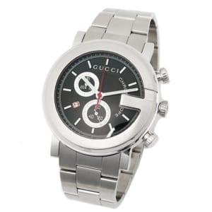 グッチ GUCCI 時計 腕時計 グッチ 時計 メンズ 腕時計 GUCCI YA101309 Gラウンド クロノグラフ ステンレス ブラック/シルバー by ブランドショップAXES(日本流通自主管理協会会員)