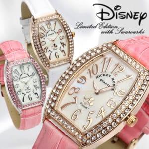 ミッキーマウス Mickey ディズニー 腕時計 レディース トノー型 本革レザー スワロフスキー キャラクター ウォッチ ミッキー うでどけい 女性用【Disney】【Disneyzone】 by CAMERON