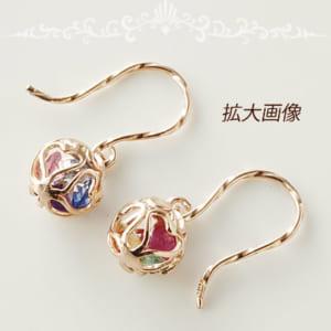 7色の輝き アミュレット フックピアス (両耳用1ペア) 10金 ピンクゴールド