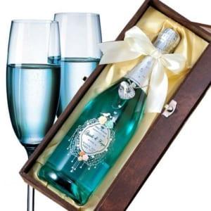 【名入れワイン】ブルー・オブ・マリア(スパークリングワイン)幸運を呼ぶブルーデコレーション  by エンジェリック