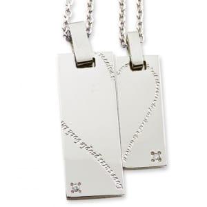 ホワイトダイヤモンドプレート型ハートメッセージペアネックレス