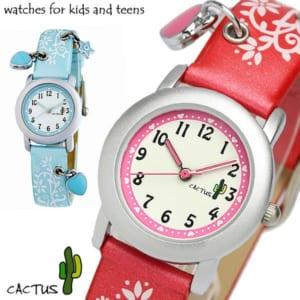 【CACTUS】 カクタス チャームウォッチ ハート 花柄 キッズ腕時計 ガールズ CAC-28 かわいい Lady's Kids 子供用 by CAMERON