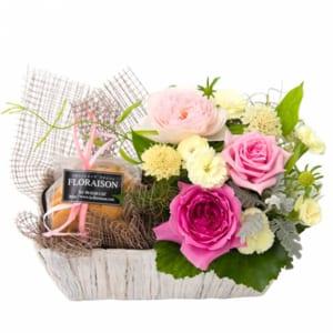 【誕生日ギフト】バラアレンジメント&ロハスクッキーセット by Hana&Zakkaフロレゾン