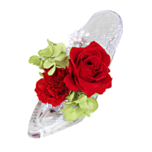プリザーブドフラワー シンデレラ ガラスの靴 ダイヤモンドパウダー入り