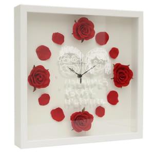 【送料無料 ラッピング無料】 お孫さんが描いた似顔絵をガラス面に刻印します♪ ローズクロック まごの絵デザインタイプ 掛け時計 by 絆を深める応援団