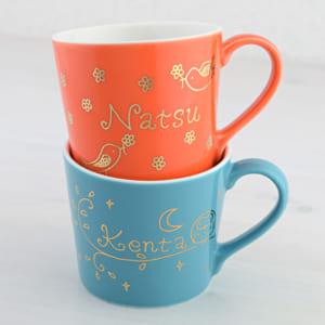 名入れ マグカップ【オーダーMYネーム*カラーマグ】デザイナーが手書きで名入れする特別なマグカップ☆5色カラーが選べてメッセージも入ります♪ by プレゼントなら 名入れ工房 桃山