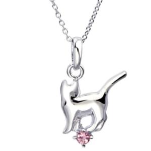 ネックレス レディース 猫 (ネコ ねこ) エンジェルキャット 誕生石 ダイヤモンド シルバー ネックレス by ジュエリー王国