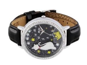 mini ミニ ハンドメイド デコウォッチ 腕時計 レディース キッズ ラインストーン 白猫 夜空 星 ブラック シルバー 本革レザー クラフト 3Dミニチュア MNS1012B by CAMERON