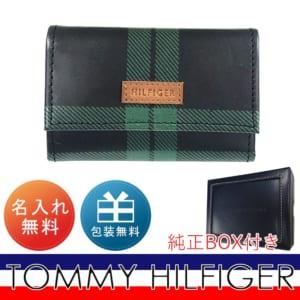 【名入れ無料】 トミー ヒルフィガー TOMMY HILFIGER キーケース メンズ ブラック×グリーン チェック 31TL40X004 067 ※名入れ選択の場合は代引不可 by Alevel(エイレベル)