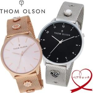 【送料無料】【ペアウォッチ】THOM OLSON/トムオルソン レディース 腕時計 チャーム付き 本革ベルト メッシュベルト 2本セット to-pair1 by CAMERON