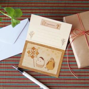 【木はり絵】グリーティングカード・バードAIZU「起き上がり小法師」 【天然木の香り】【新感覚の木製アート】【手作りギフト】 by 木はり絵工房 きのわ