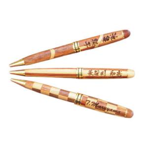 【名入れ無料】 お祝い・記念品・贈り物に…名入れ木製ボールペン 寄木タイプ(ペン単品) 1mm 全2種(チェック柄/スラッシュ柄)  by 名入れギフトのハッピープレゼント