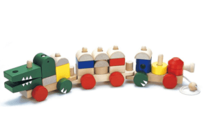 ワニさんの汽車つみき 木のおもちゃ
