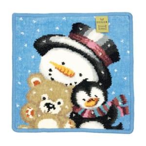 プチギフトにもおすすめな純正ビニール袋付属 フェイラー ハンカチ ハンドタオル 25cm クリスマス 2018年限定 スノーマン 雪だるま シアン 2枚セット by Alevel(エイレベル)