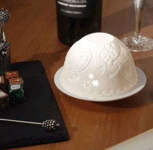 イタリア製 ポーセレン 磁器 リトファニー キャンドルホルダー
