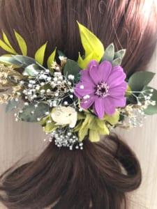 グリーンとパープルジニアと小花のボタニカルヘアアクセサリー