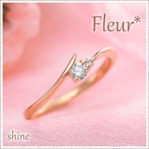 ピンキーリングK10 Fleur shine 関節リング ダイヤモンド ミディリング