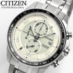 「エコドライブ」 チタン ソーラー 腕時計 メンズ クロノグラフ 10気圧防水