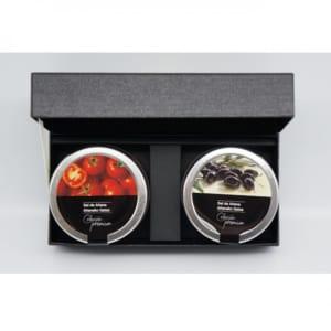 「泉の岩塩」ガラスジャータイプ2種入り『トマト・ブラックオリーブ』