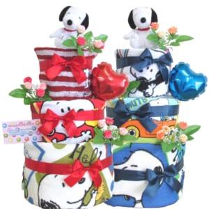【送料無料】おむつケーキ スヌーピー 3段!!(大)選べる2タイプおむつケーキ 男の子 女の子 オムツケーキ オーガニック 出産祝い by スマイルポップ