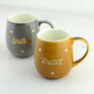 名入れ ペアマグカップ【オーダーMYネーム*ラフランマグ(ペアセット)】デザイナーが手書きで名入れする特別なマグカップ☆5色カラーが選べてメッセージも入ります♪ by プレゼントなら 名入れ工房 桃山