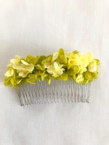 イエローグリーン紫陽花のヘアコーム髪飾り プリザーブドフラワー