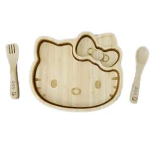 【名入れ無料】【日本製】FUNFAMキティフェイスプレートセット(キッズプレートベビースプーンベビーフォークランチプレート食器) [009-034] by オリジナルグッズ Happy gift