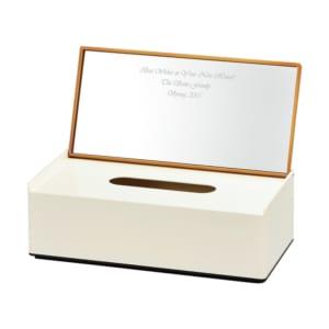 【名入れ】 ミラーティッシュケース [ナチュラル・ブラウン] お祝いや記念日の贈り物に by スマートギフト