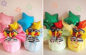 【ラマーズ】 フットラトルソックス付き★バルーンおむつケーキ
