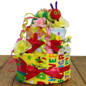 おむつケーキ はらぺこあおむし 3段 タオル 人形 オムツケーキ 男の子 女の子 名入れ 出産祝い / 送料無料 ダイパーケーキ はらぺこあおむし おむつケーキ  出産祝いのラグーン店 by おむつケーキ、出産祝いのラグーン