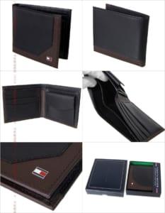 トミーヒルフィガー 二つ折り財布 ブラック×ダークブラウン
