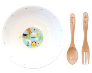 【 名入れ 子供用 食器セット 】 陶器 ボウル スプーン フォーク