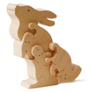 [日本製安心おもちゃ] ウサギのパズル [名入れ]