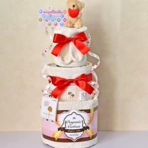 【送料無料】オムツ出産祝いおむつケーキ中 3段