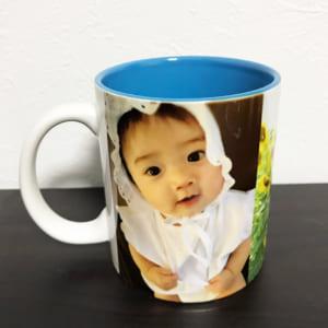 LINEで簡単!!お写真画像や文字が入れられるカラーマグカップ