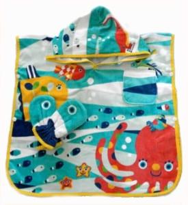 【名入れ可能】フード付きバスタオル フード付き ポンチョ湯上りタオル