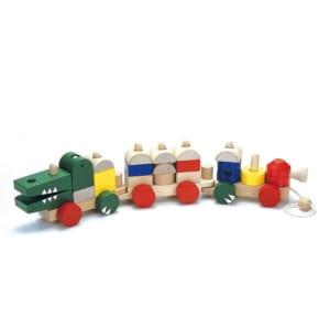 ワニさんの汽車つみき 木のおもちゃ 知育玩具 by スマートギフト
