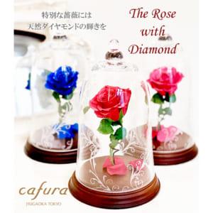 プリザーブドフラワーの薔薇に天然ダイヤを付けたベル型ガラスドーム ★美女と野獣 天然ダイヤ付き 一輪の赤い薔薇 ★ 結婚記念・ウェディング・お誕生日・記念日など贈り物に最適です! by cafura jiyugaoka