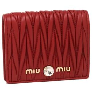 ミュウミュウ 財布 MIU MIU 5MV204 2B9G F068Z MATELASSE マテラッセ レディース 二つ折り財布 レッド 赤 by ブランドショップAXES(日本流通自主管理協会会員)