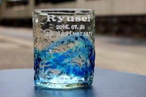 【名入れ】 琉球グラス 琉球ガラスに彫刻を施した世界にひとつのロックグラス!!【プレゼント】【記念日】【お誕生日】 by M-style