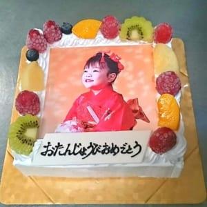 四角型写真ケーキ/白生クリーム