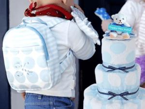 【名入れ 出産祝い】ベビーリュック&パステルドットおむつケーキセット
