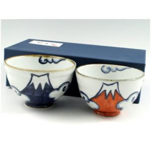 青富士・赤富士(富士山)組茶碗