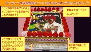【30人以上】イチゴがうれしい大型フォトケーキ