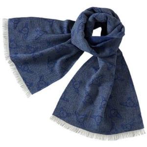 ヴィヴィアンウエストウッド Vivienne Westwood ランダムORB メンズマフラー グレー+ブルーネイビー系 灰 青 紺 by 感動物語 ギフトモール店-★リボンをほどくと溢れる笑顔★-おしゃれで素敵なプレゼントやギフトにお勧めのブランド雑貨を通販-