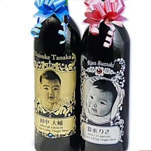 【写真名入れ】赤ちゃん誕生記念ワイン 焼印木箱付き
