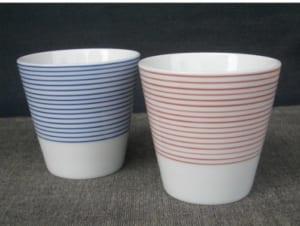 【名入れ】 有田焼 呉須千段(赤・青) フリーカップ ペアセット