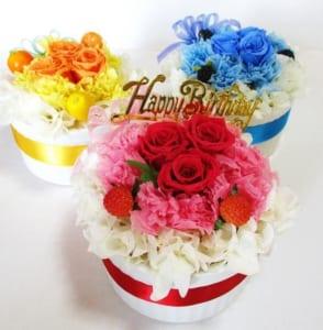 フラワーケーキ「赤、青、黄いバラ」