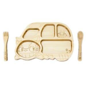 【名入れ無料】【日本製】FUNFAM ねこバスプレートセット(出産祝いキッズプレートベビースプーンベビーフォークランチプレート食器) [009-049] by オリジナルグッズ Happy gift